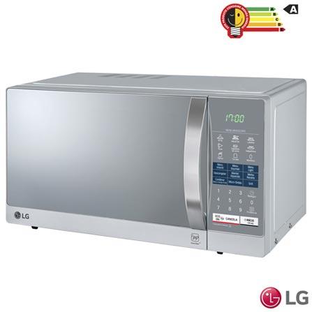 Micro-ondas LG EasyClean com 30 Litros de Capacidade e Grill Prata - MH7057Q, 110V, 220V, Prata, Mesa, Acima de 30 litros, 30 Litros, Aço pintado, Sim, Sim, 03, Sim, 900 W, A, 1,35 kWh, 12 meses