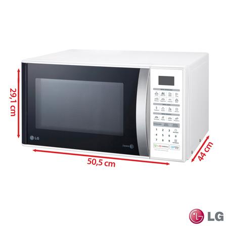 Forno Micro-ondas Easy Clean LG com Capacidade de 30 Litros Branco - MS3052R, 110V, 220V, Branco, Mesa, Acima de 30 litros, 30 Litros, Não especificado, Não, Não, 11, Sim, 800 W, A, 1,25 kWh, 12 meses