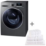 Lava & Seca 10,2Kg Samsung Eco Bubble Inox - 110V - WD10K6410OX + Jogo de Toalhas de Banho, 05 Pecas Branco - Buddemeyer