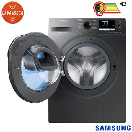 Lava & Seca 10,2Kg Samsung Eco Bubble Inox - 220V - WD10K6410OX + Jogo de Toalhas de Banho, 05 Pecas Branco - Buddemeyer, 1