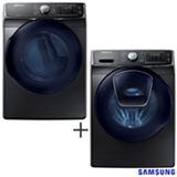 Lavadora de Roupas Samsung 15 Kg Prata - WF15K6500AV/AZ + Secadora de Roupas a Gas Samsung 18 Kg, Inox - DV15K6500GV/AZ