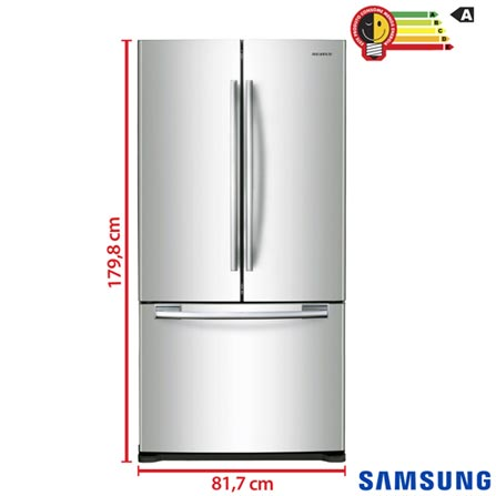 Refrigerador French Door Samsung de 03 Portas com 441 Litros Twin Cooling Inox e Cinza - RF62HERS1, 110V, 220V, Inox, De 351 a 500 litros, 441 Litros, 110 Litros, 331 Litros, 53 kWh/mês, Não, Não, Sim, 03 Portas, French Door, A