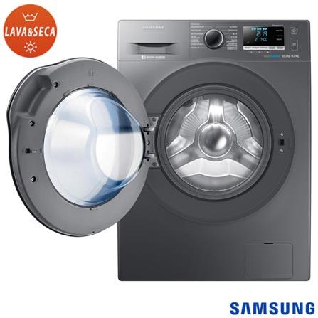 Lava & Seca 10,2 Kg Samsung Crystal Blue Inox Look com 14 Programas de Lavagem - WD10J6410AX, 110V, 220V, Inox, Frontal, 10,2 Kg, Acima de 10 kg, 10,2 kg, 06 kg, Água fria - 0,25 W Água quente - 1,49 W, 104 Litros, Sim, Sim, Sim, Sim, Sim, Elétrica, 12 meses, Sim, Sim, Aço Inox, Eletrônico, 14, 14, Sim, Lava-Seca, Não, 1400 rpm, A