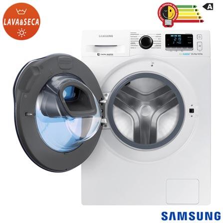Lava & Seca 10,2Kg Samsung AddWash Eco Bubble Branco com 13 Programas de Lavagem - WD10K6410OW, 110V, 220V, Branco, Frontal, 10,2 Kg, Acima de 10 kg, 10,2 kg, 06 kg, Classe A, Não especificado, Não especificado, Sim, Sim, Sim, Sim, Sim, Elétrica, 12 meses, Não, Não, Aço Inox, Eletrônico, 13, 8, Lava-Seca, Sim, 1400 rpm