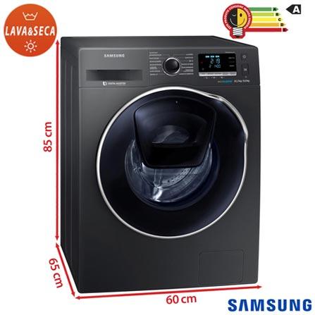 Lava & Seca 10,2Kg Samsung AddWash Eco Bubble Inox com 13 Programas de Lavagem - WD10K6410OX, 110V, 220V, Inox, Frontal, 10,2 Kg, Acima de 10 kg, 10,2 kg, 06 kg, Não especificado, Não especificado, Não especificado, Sim, Sim, Sim, Sim, Elétrica, 12 meses, Não especificado, Não, Aço Inox, Eletrônico, 13, 8, Lava-Seca, Sim, 1400 rpm