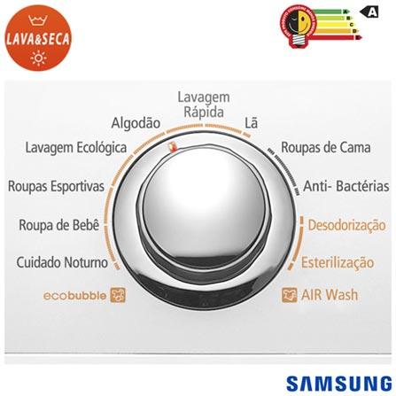 Lava & Seca 13 Kg, Samsung Squall Jr. Eco Bubble Branca com 11 Programas de Lavagem - WD136UVHJWD, 110V, 220V, Branco, Frontal, Aço Inox, Acima de 10 kg, 13 kg, 08 kg, 0,31 kWh, 96,1 Litros, Sim, Sim, Sim, Não especificado, Elétrica, 12 meses, Não, Não, Aço Inox, Manual, 11, Não especificado, Lava-Seca, Não, Não, 1000 rpm, A