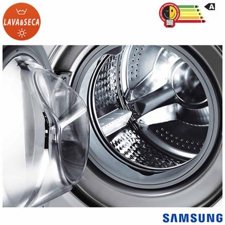 Lava & Seca 8,5 Kg Seine Samsung Prata - WD856UHSASD, 110V, 220V, Prata, Frontal, De 7 kg a 9 kg, 8,5 kg, 04 kg, Não especificado, Não especificado, Sim, Sim, Sim, Não especificado, Elétrica, 12 meses, Sim, Sim, Aço Inox, Manual, Não especificado, Não especificado, Lava-Seca, Sim, Não especificado, A