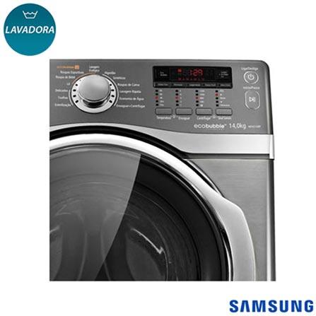 Lavadora de Roupas 14 kg Eco Bubble Samsung com 12 Programas de Lavagem Platino - WF431ABPXAZ, 110V, Inox, Frontal, Acima de 10 kg, 14 kg, Não se aplica, 0,38 kWh, Não especificado, Sim, Não, Não, Sim, Não especificado, Elétrica, 12 meses, Não, Não, Aço Inox, Manual, 12, Não se aplica, Lavadora, Sim, 1200 rpm, A