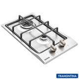 Cooktop a Gás Tramontina Domino 2GX Safestop 30 com 02 Bocas, Acendimento Super Automático Inox - 94700/214