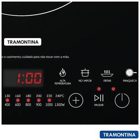 Cooktop por Indução Mono Slim EI30 Tramontina Vitrocerâmico, 01 Boca e Painel Touch, Preto - 94714, 110V, 220V, Preto, Indução, 01 Boca, Eletrônico, Indução, Touch, Sim, Não se aplica, Não, Vitrocerâmico, Não, 1,3 kW/h, 12 meses