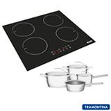 Cooktop por Indução Tramontina 4 Bocas com Timer e Painel Touch - 94746 + Jogo de Panelas Ventura 4 Peças