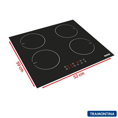Cooktop por Indução Tramontina 4 Bocas com Timer e Painel Touch - 94746 + Jogo de Panelas Ventura 4 Peças, 220V, Preto e Inox, Vitrocerâmico, Touch, 04 Bocas, Sim, Indução, Automático, A