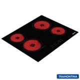 Cooktop Elétrico Tramontina New Square Touch em Vitrocerâmico, 04 Bocas, 09 Níveis de Potência Preto - 94747/022