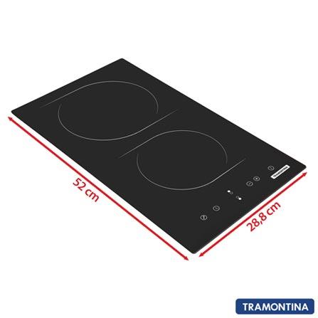 Cooktop Elétrico Tramontina Vitrocerâmico Square Touch com 2 Bocas e Função Time, Preto – 94748, 02 Bocas, Vidro, Elétrico, 7894693041951, 220V