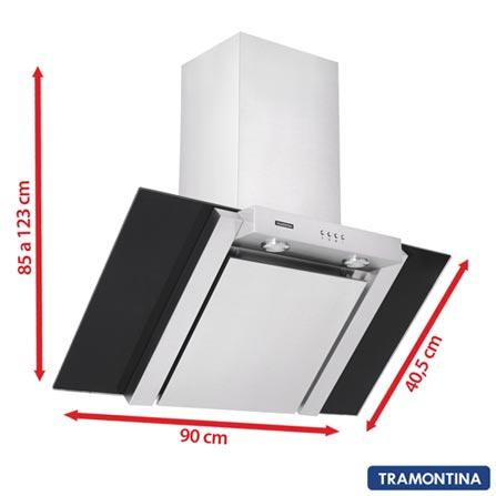 Coifa de Parede 90cm Tramontina com 3 Velocidades Vetro Wall Flat - 94806, 110V, 220V, Inox, Parede, Não especificado, Sim, Sim, Não especificado, Manual, Não, Sim, Não especificado, Não especificado, Não, 90 cm, Inox, 03 Velocidades, Não especificado, Não especificado, 60 Hz, Não especificado, Não especificado, Não especificado, 12 meses