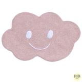 Tapete Infantil em Algodão Orgânico Nuvem Pequena Retangular Rosa com Branco - Bubba Baby