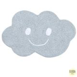 Tapete Infantil Nuvem pequena em Algodão Orgânico Retangular Azul com Branco - Bubba Baby