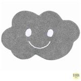 Tapete Infantil em Algodão Orgânico Nuvem Pequena Retangular Cinza com Branco - Bubba Baby
