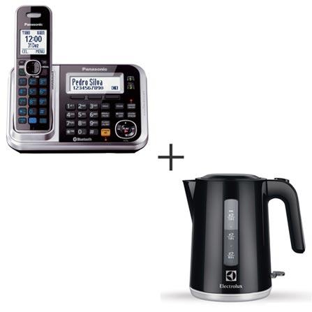 Telefone Sem Fio Panasonic DECT 6.0 Prata + Jarra Elétrica Electrolux com Desligamento Automático 220V Preta, 0