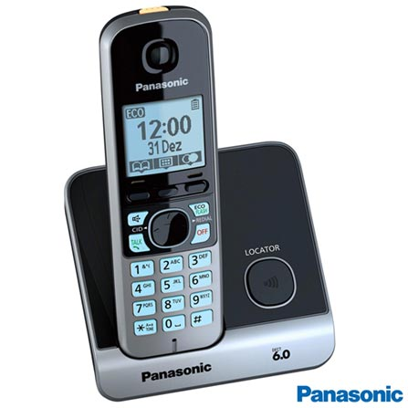 Telefone sem Fio Panasonic DECT 6.0 + 2 Ramais, Preto e Prata - KXTG6713, Bivolt, Bivolt, Preto e Prata, Não, Sim, Sim, Sim, 02, Sim, 12 meses