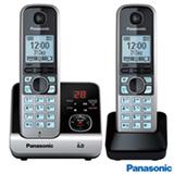 Telefone sem Fio Panasonic DECT 6.0, Viva Voz, Black Piano e Prata- KXTG6722