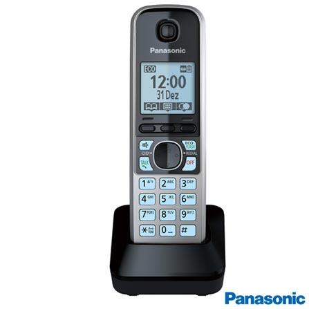 Telefone sem Fio Panasonic DECT 6.0, Viva Voz, Black Piano e Prata- KXTG6722, Bivolt, Bivolt, Preto e Prata, Sim, 12 meses, Sim, 01, Sim, Sim, Sim
