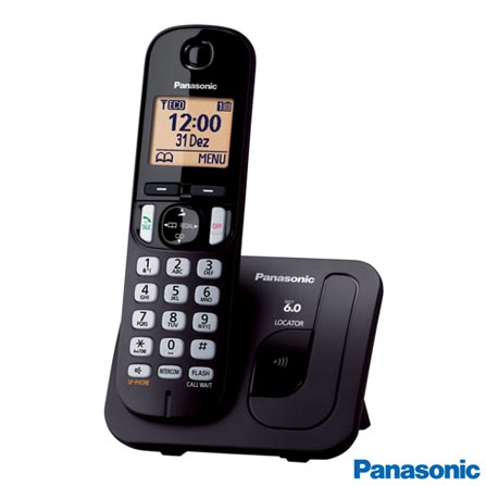 """Telefone sem  Fio Panasonic Dect.6, Identificador de Chamadas, Teclado Luminoso, Display 1.6"""", Preto - KX-TGC210LBB, Bivolt, Bivolt, Não, Sim, Sim, Não, Não, Não, Sim, Não possui, Sim"""
