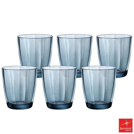 Conjunto de Copos Bormioli Pulsar em Vidro com 390 ml de Capacidade Azul, Azul, Vidro, 06 Peças, 390 ml, 03 meses