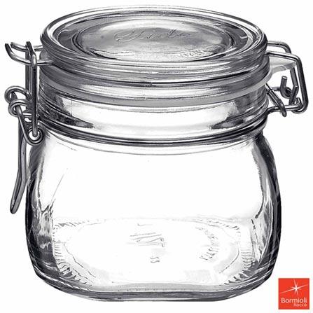 Pote de Vidro com 500 ml e Fechamento Hermético Fido - Bormioli Rocco, Não se aplica, Vidro, 03 meses