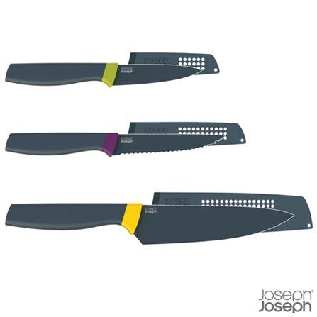 Conjunto de Facas Elevate em Aço Inox com Bainha em ABS - Joseph Joseph, Preto e Verde, Inox, ABS, 3, 03 meses
