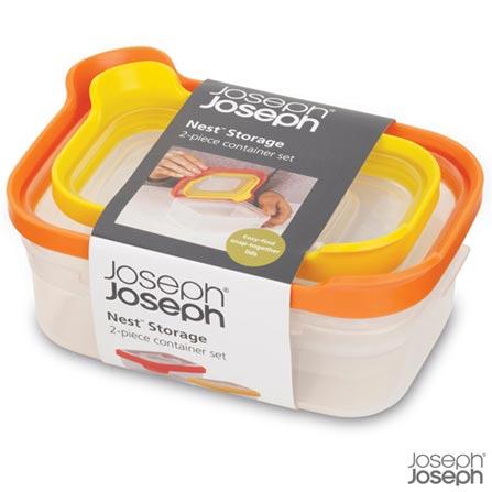 Jogo de Potes em Polipropileno e TPE com 02 Peças Nest Storage - Joseph Joseph, Lilas e Amarelo, Polipropileno e TPE, 02 Peças, 03 meses