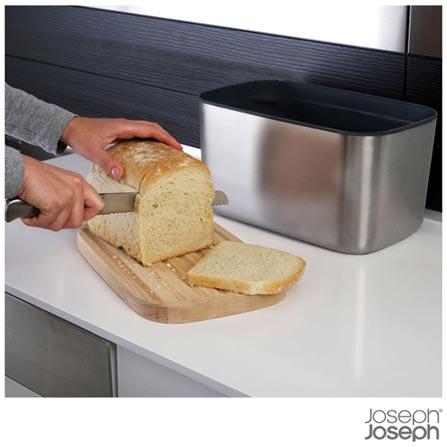 Porta Pão em Inox com Tampa de Madeira - Joseph Joseph, Aço Escovado, Aço Escovado e Madeira, 03 meses