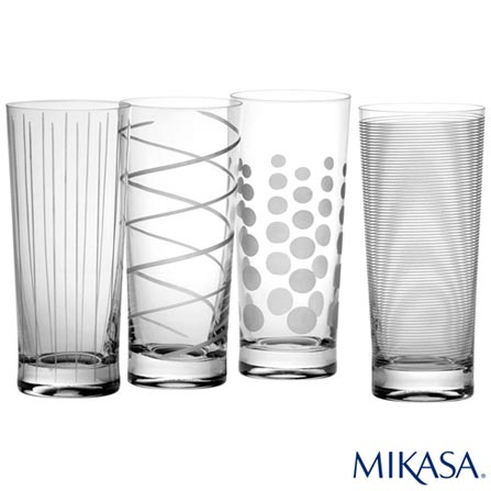 Conjunto de Copos para Drink Cheers em Cristalin de 580 ml - Mikasa, Não se aplica, Cristalin, 04 Peças, 580 ml, 03 meses
