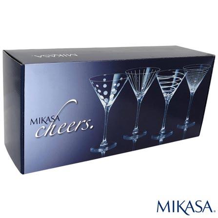 Conjunto de Tacas Cheers para Martini em Cristalin de 295 ml - Mikasa, Não se aplica, Cristalin, 04 Peças, 295 ml, 03 meses
