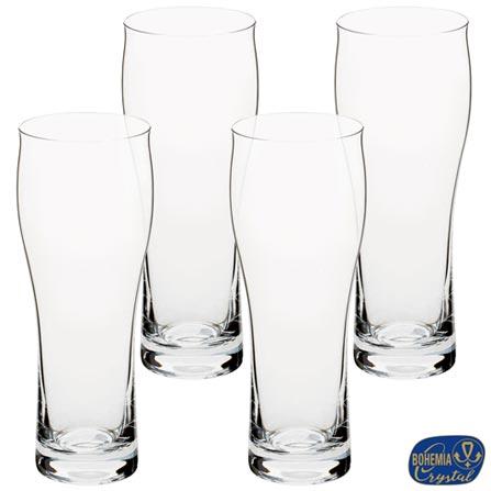 Conjunto de Copos de Cerveja em Cristal 300 ml com 04 Peças - Bohemia, Não se aplica, Cristal, 04 Peças, 03 meses