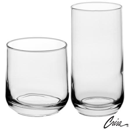 Conjunto de Copos Koba em Vidro 380 ml e 470 ml com 08 Peças - Crisa, Não se aplica, Vidro, 08 Peças, 03 meses