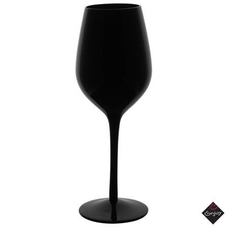 Conjunto de Taças Noir para Vinho de Vidro 470 ml com 06 Peças - Enjoy, Preto, Vidro, 06 Peças, 03 meses