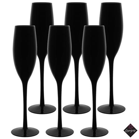 Conjunto de Taças Noir para Champagne de Vidro 190 ml com 06 Peças - Enjoy, Preto, Vidro, 06 Peças, 03 meses