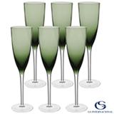 Conjunto de Taças de Champagne Oliver em Vidro 230 ml com 06 Peças Verde - GS