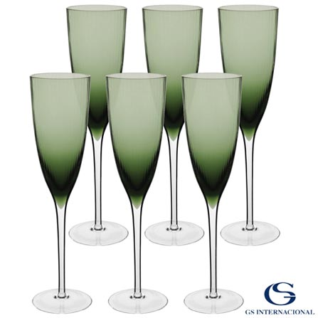 Conjunto de Taças de Champagne Oliver em Vidro 230 ml com 06 Peças Verde - GS, Verde, Vidro, 06 Peças, 03 meses