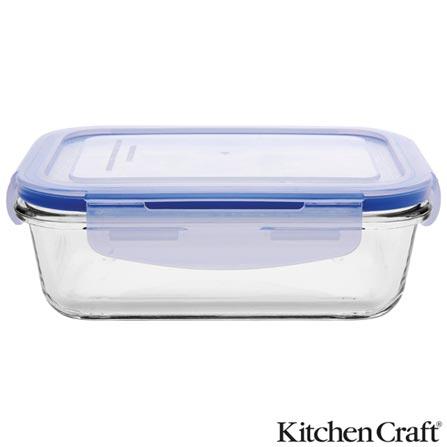 Pote de Vidro Borosilicato com 550 ml, Retangular e Fechamento Hermético Pure Seal - Kitchen Craft, Não se aplica, Vidro e plástico, 03 meses