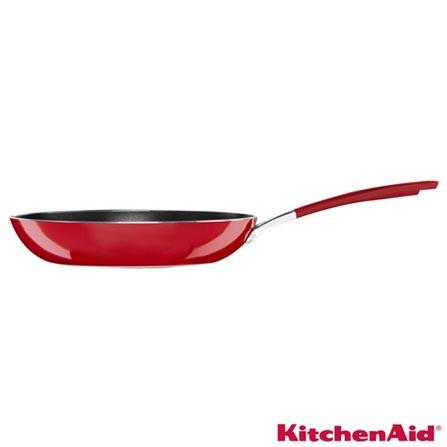 Frigideira em Alumínio com 25 cm Vermelha - KitchenAid, Vermelho, Frigideira, Não especificado, Antiaderente e Inox, 25 cm, 03 meses