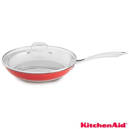 Frigideira 30 cm com Tampa de Vidro KitchenAid Vermelha, 01 Peça, Inox, Vermelho, 3 meses, 7891129225145