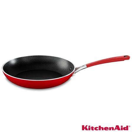 Frigideira em Aço Inox com 30 cm Vermelha - KitchenAid, Vermelho, Frigideira, Não especificado, Antiaderente e Inox, 30 cm, 03 meses