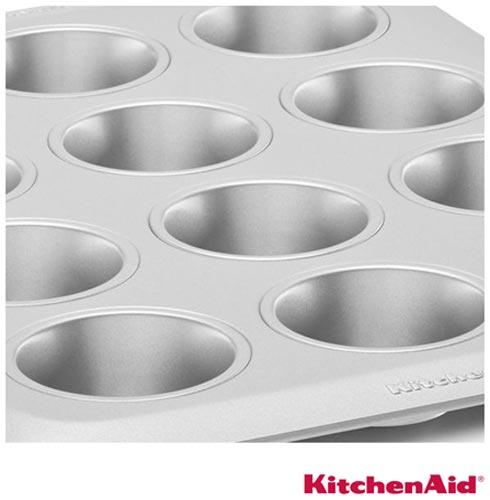 Forma para 12 Bolinhos KitchenAid Classic em Aço Carbono Antiaderente, Chumbo, Formas, 01 Peça, Aço carbono, Redondo, 03 meses