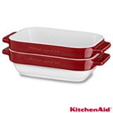 Conjunto de Travessas Kitchenaid Empire Red em Cerâmica com 02 Peças Vermelha