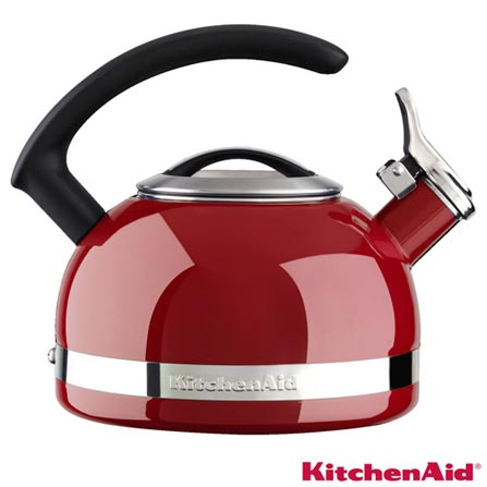 Chaleira em Inox Empire Red com Apito 1,9L Vermelha - KitchenAid, Vermelho
