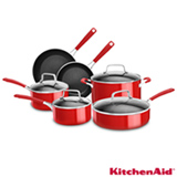 Conjunto de Panelas Kitchenaid em Alumínio Empire Red com 06 Peças - KI994