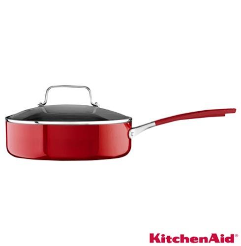 Conjunto de Panelas Kitchenaid em Alumínio Empire Red com 06 Peças - KI994, Vermelho, Conjunto de Panelas, 06 Peças, Alumínio, Diversos, Diversos, 03 meses