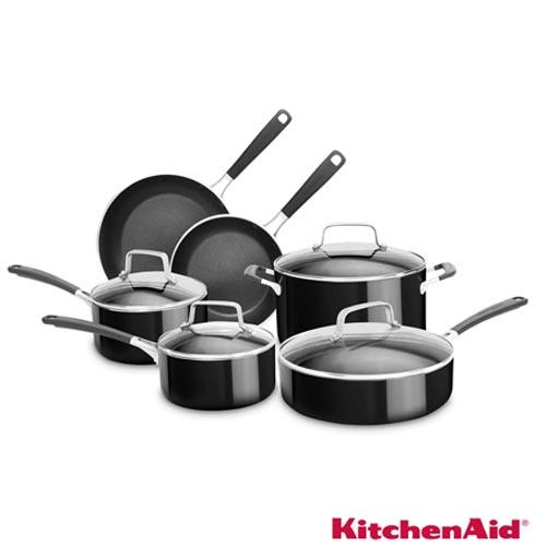 Conjunto de Panelas Kitchenaid em Alumínio com 06 Peças Preto - KI996, Conjunto de Panelas, 06 Peças, Alumínio, Diversos, Diversos, 03 meses